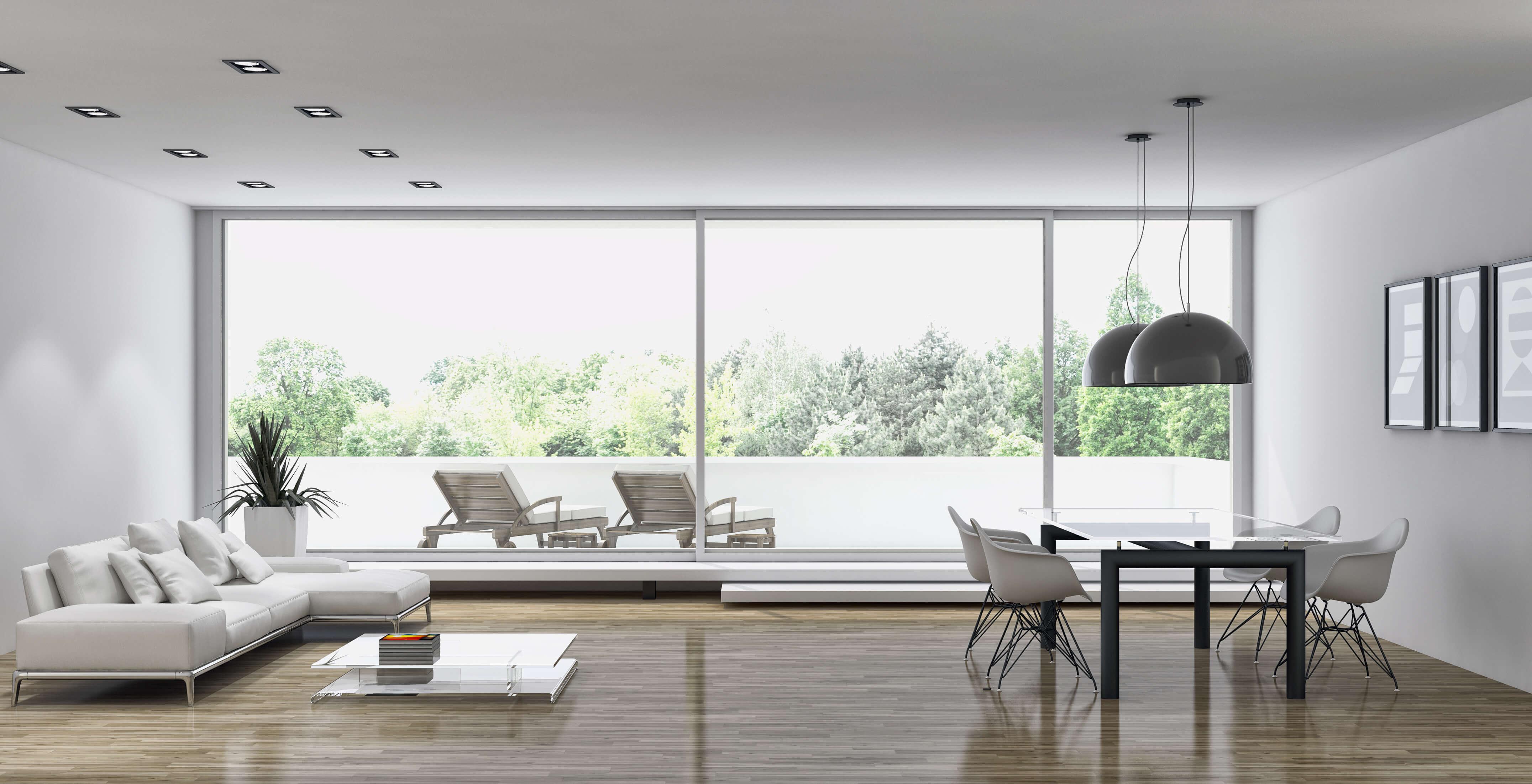 salotto minimale con finestre oknoplast