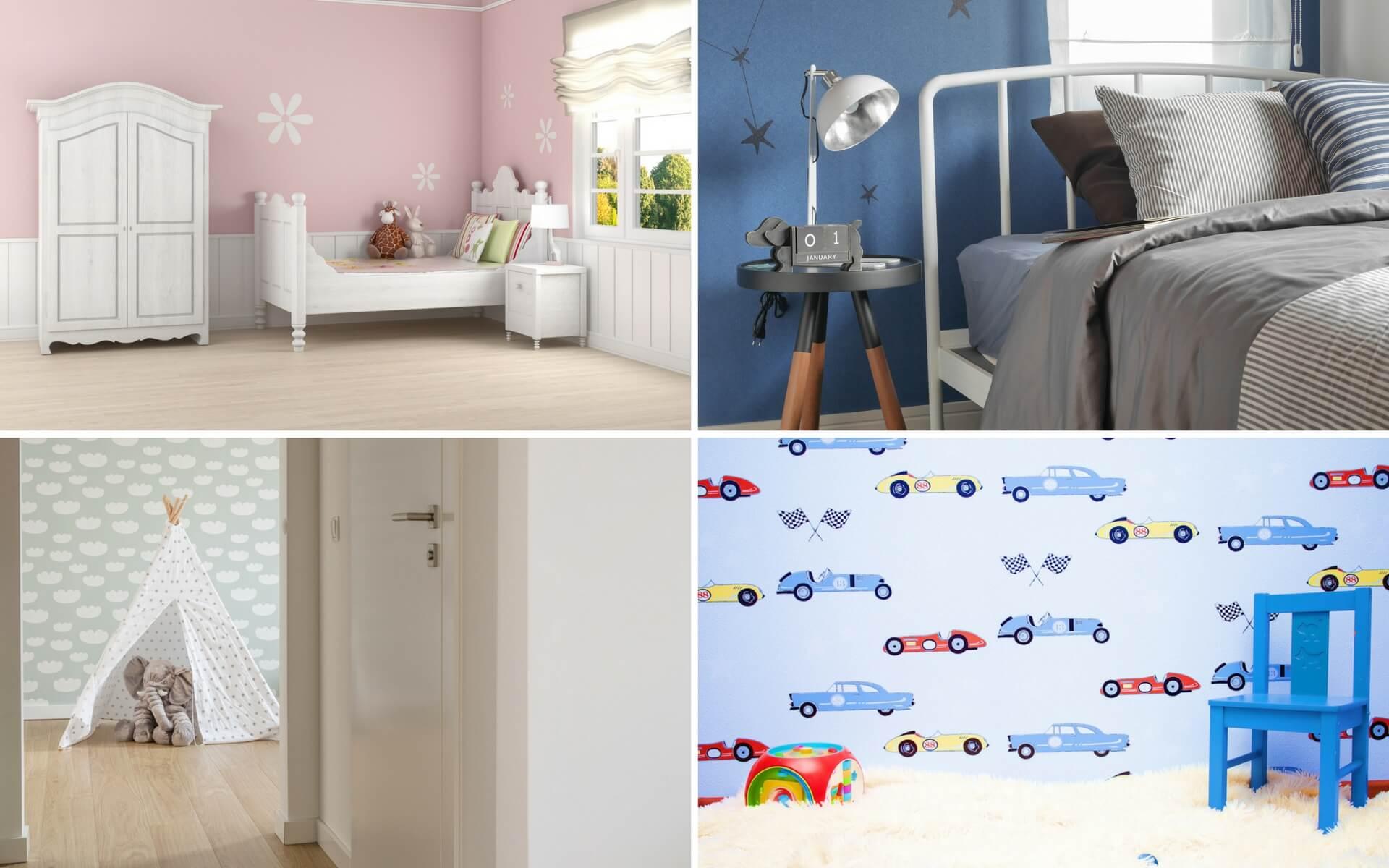 Carta Da Parati Stanza Bambini : Luminose interiore camera da letto per bambini con carta da parati