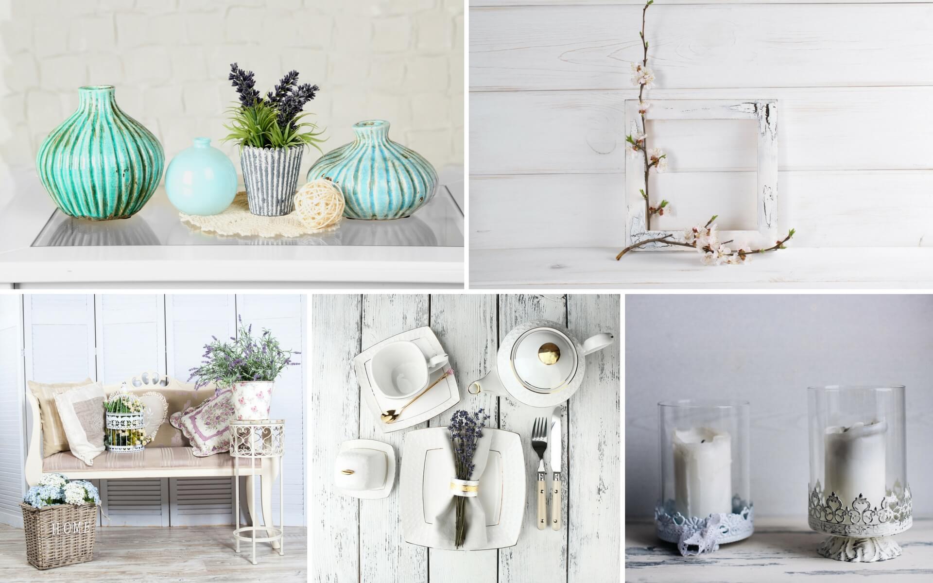 Oggetti decorativi e accessori per una casa in stile provenzale