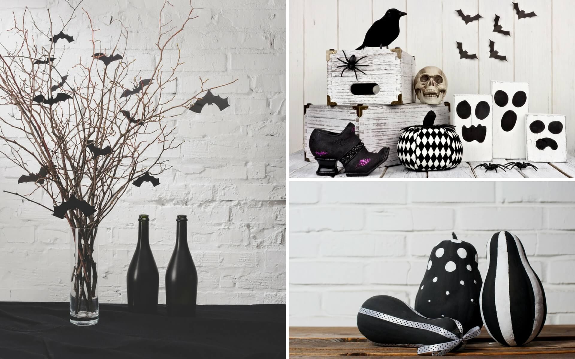 Idee per realizzare decorazioni e addobbi di Halloween in bianco e nero