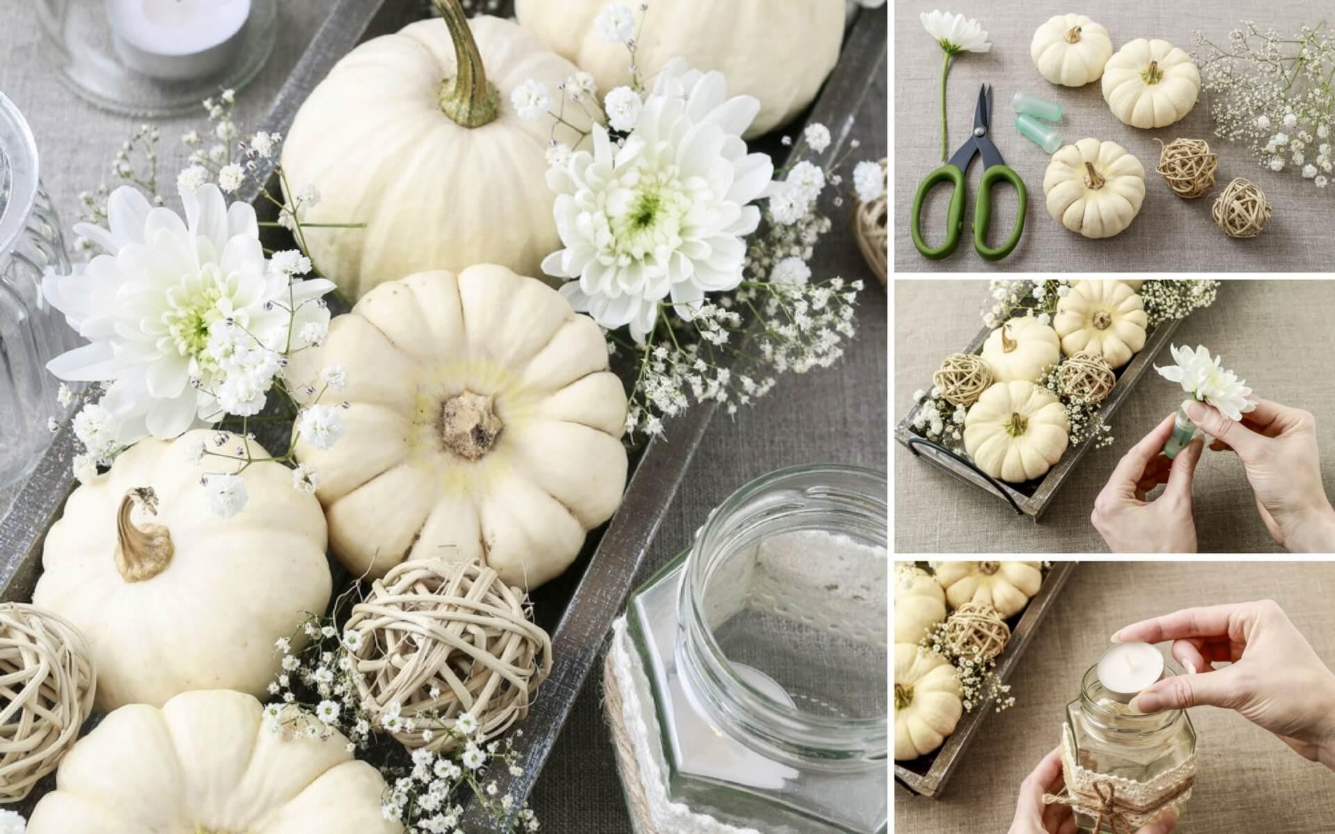 Consigli per realizzare un centrotavola di Halloween con delle zucche bianche