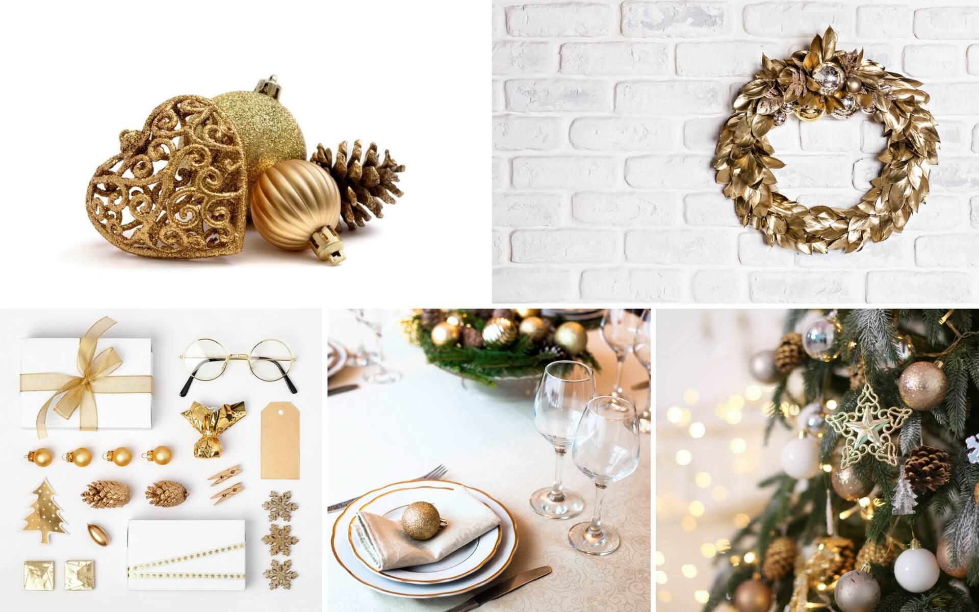 Come addobbare per Natale una casa in stile classico usando le varie tonalità di oro