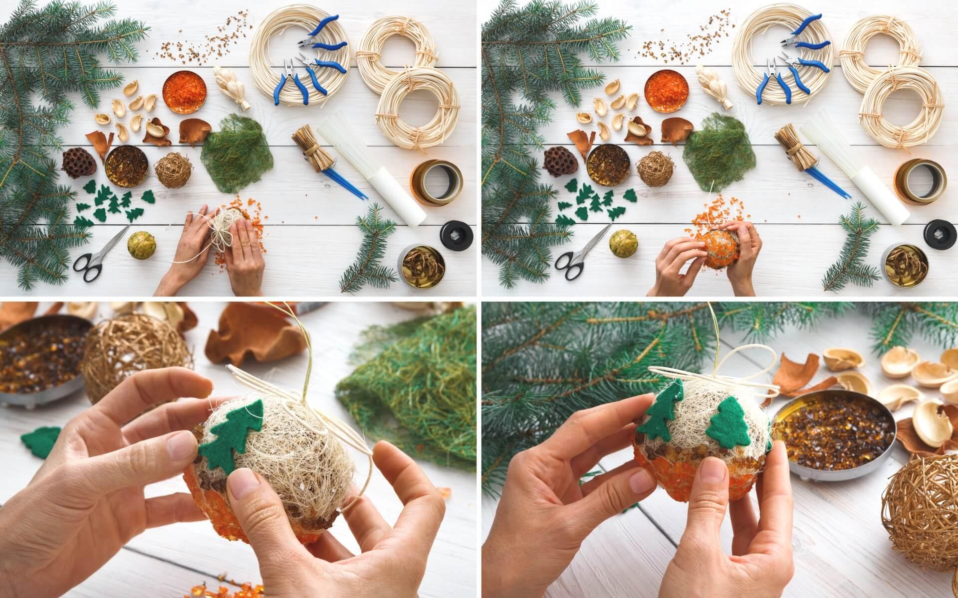 Spiegazione passo dopo passo per realizzare delle palline natalizie fai da te