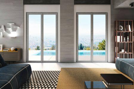Un esempio di arredamento moderno con finestre effetto cemento