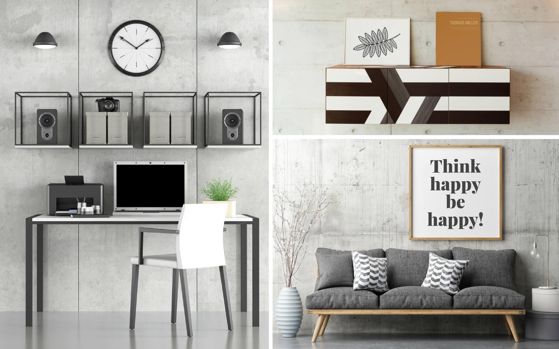 Il cemento o rivestimenti effetto cemento sono largamente diffusi per la realizzazione di pareti scenografiche all'interno di casa