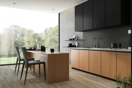 nuove tendenze nell'arredo con la cucina con pensili neri