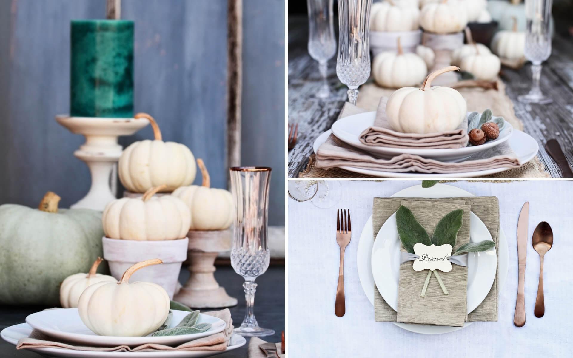 Consigli per arredare e decorare la tavole in stile autunnale con zucche bianche