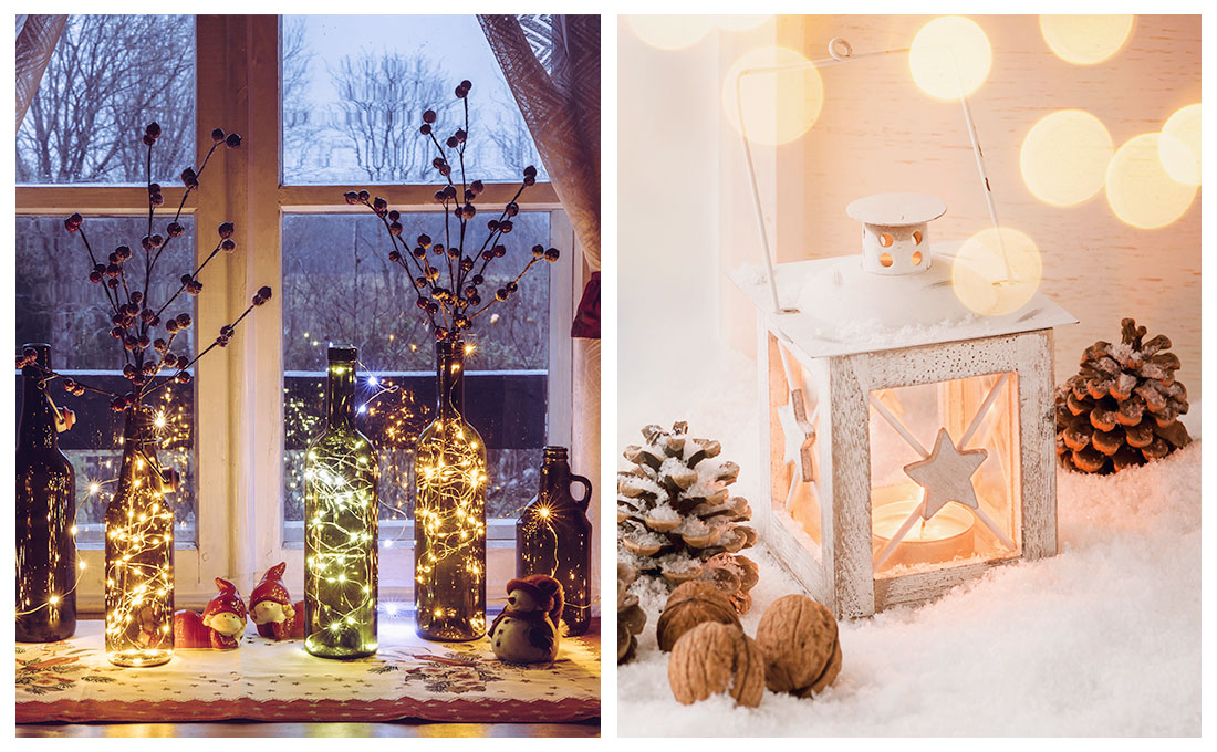 Candele e luci per decorare le finestre durante il periodo natalizio