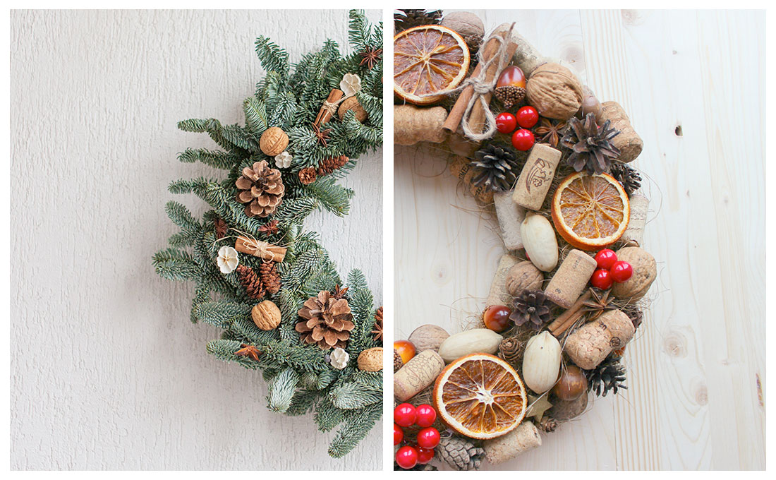 Ghirlande natalizie tradizionali oppure in sughero