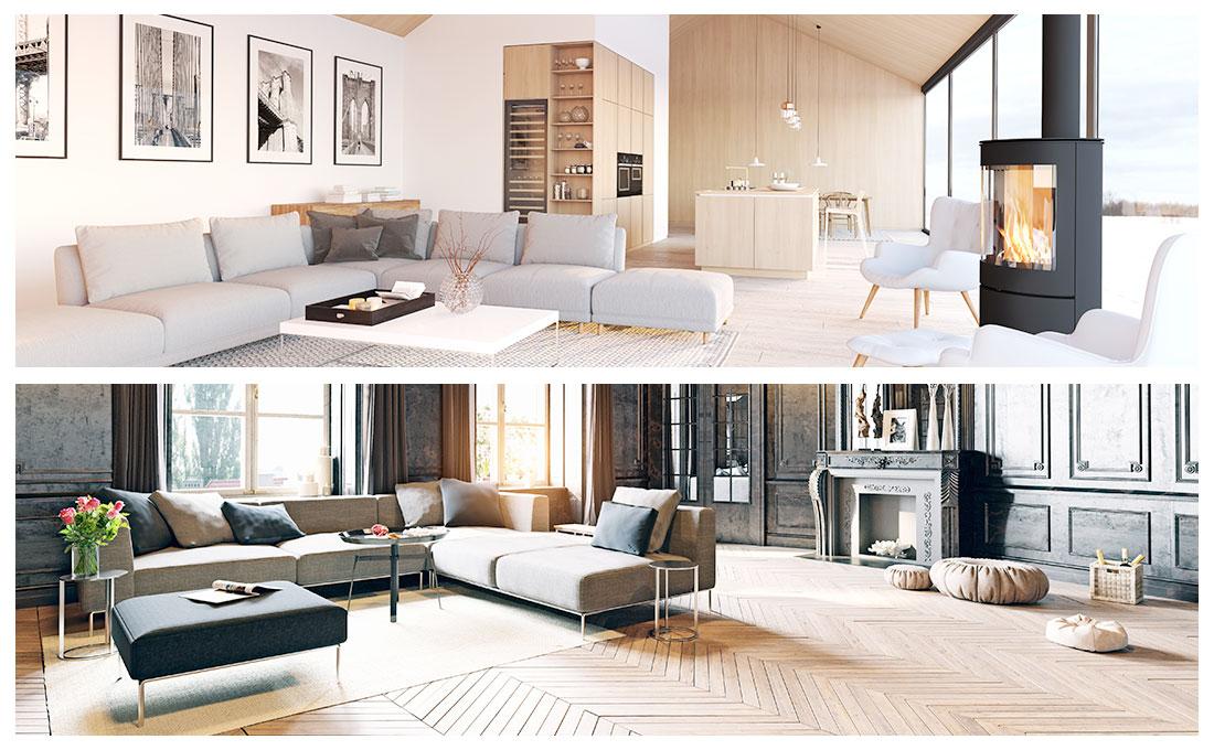 Arredamento in stile classico moderno e stile nordico