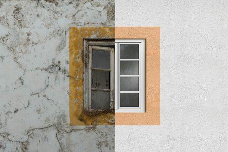 Facciata di casa da ristrutturare