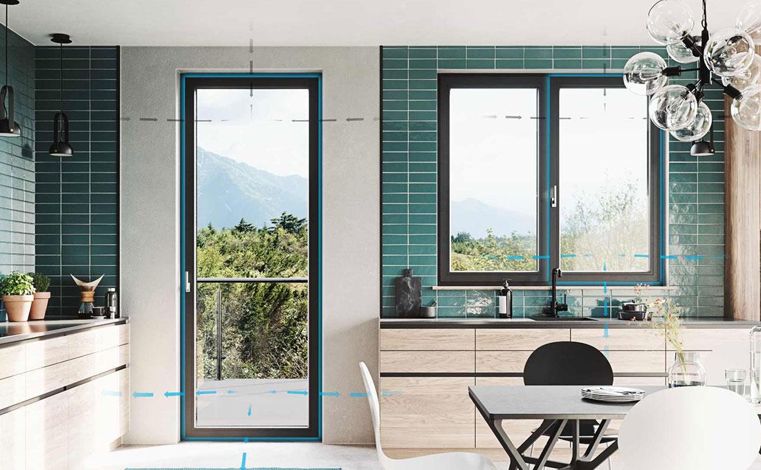 Finestra e porta finestra Prismatic di Oknoplast con sistema windAIR