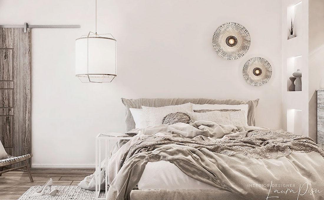 Una camera con materiali naturali progettati da Laura Pisu